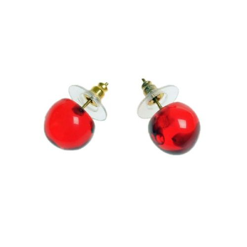 Jackie Brazil Resin Stud Earrings in Red Tortoise Collection